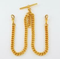 Antique Solid 9Ct Gold Double Albert Watch Chain 16 Inches , 60grams